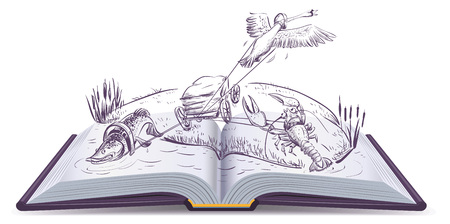 fable: Open book Fable of swan pike and crawfish. Isolated on white vector cartoon illustration.