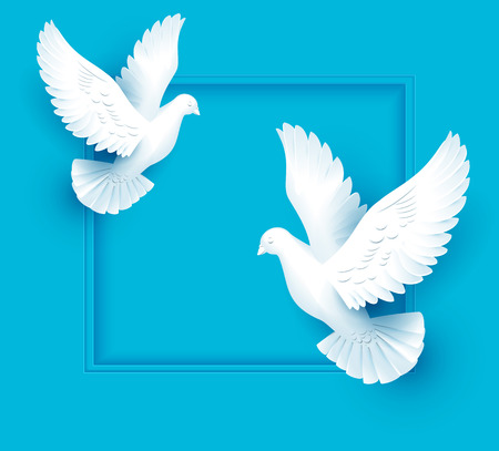 Two white dove fly on blue background. Template vector illustration greeting card.