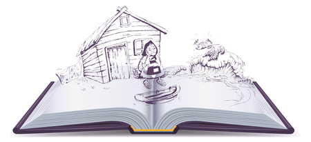 Tale of Fisherman and Golden Fish. Old woman sits at broken trough open book vector illustration Illustration