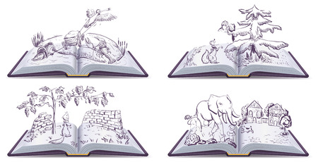 fable: Set open book fable illustration. Vector drawing. Illustration
