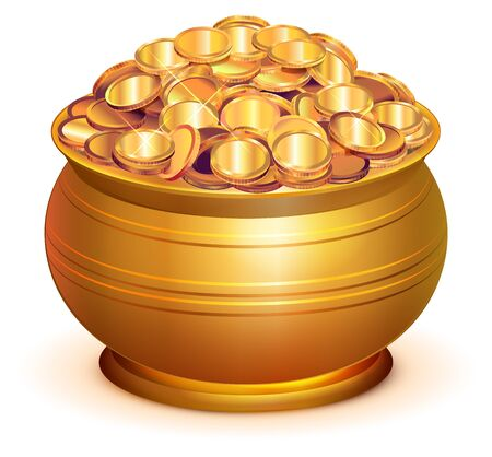 Gold pot full of gold coins. Isolated on white vector 3d illustration