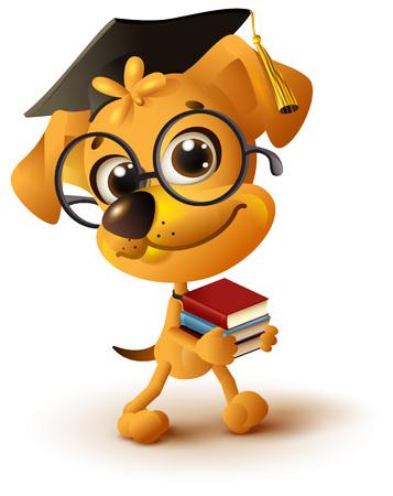 Yellow dog teacher holds stack of books. Isolated on white fun 3d vector cartoon illustration Illustration