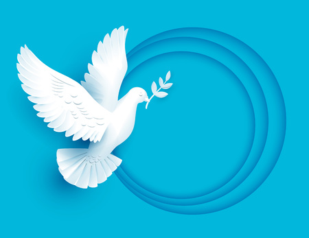 White dove holds twig symbol of peace. Vector illustration template greeting card Иллюстрация