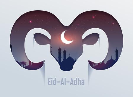 Eid al Adha Fête du sacrifice. Tête de ram silhouette, minaret et lune dans le ciel nocturne. Modèle de texte vectoriel pour carte de voeux Banque d'images - 84057453