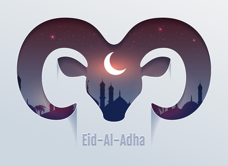 Eid al Adha Feast of Sacrifice. Head of ram silhouette, minaret and moon in night sky. Template vector text for greeting card