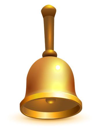 Golden school retro bell isolated on white. Vector 3d illustration