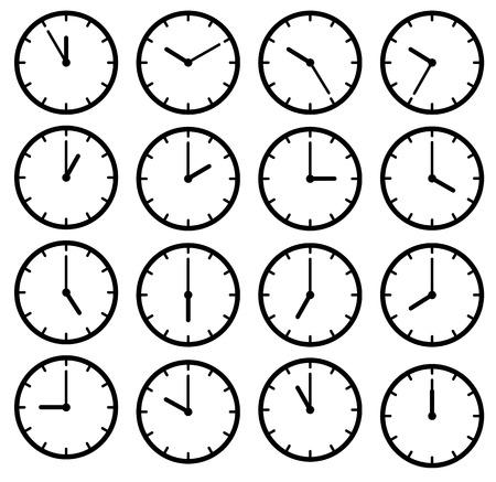 아이콘 검은 시계 얼굴을 설정합니다. 흰색 벡터 일러스트 레이 션에 절연
