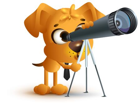 see through: Yellow fun dog teacher looking through telescope. Astronomy lesson. Isolated on white vector cartoon 3d illustration