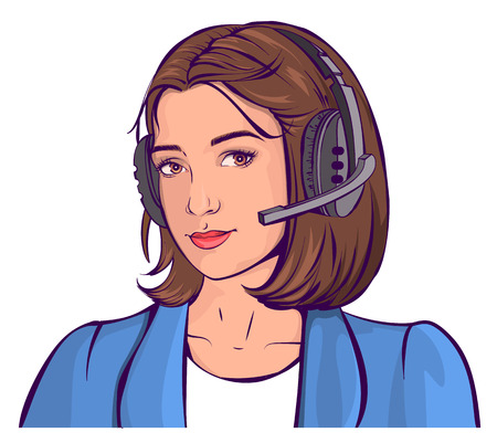 call centre girl: Support service. Beautiful young woman head in headphones. Isolated on white vector cartoon illustration