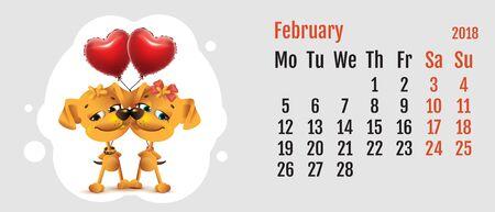 february calendar: 2018 year of yellow dog on Chinese calendar. Dog couple love. Calendar grid month February. Vector cartoon illustration Illustration