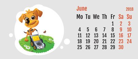 2018 jaar gele hond op Chinese kalender. Leuke hond grasmaaier. Agendaraster maand juni. Vector cartoon illustratie