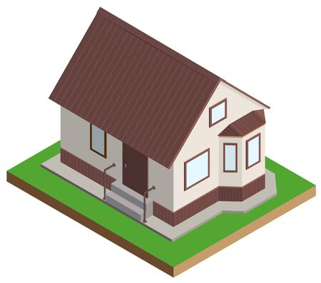 Private house mansion isometric projection. Isolated on white vector illustration Illustration