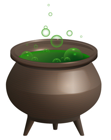 Large iron pot with green magic potion. Halloween accessory. Isolated on white vector cartoon illustration Illustration