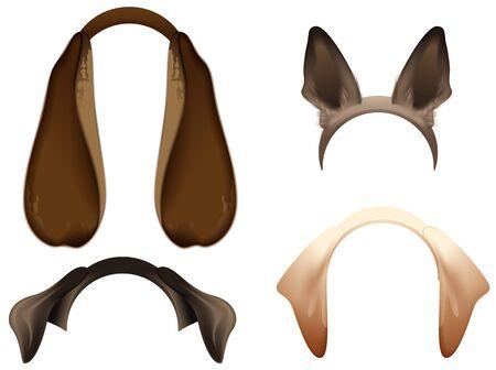 Set Dog ears mask isolated on white. Vector cartoon illustration Illustration