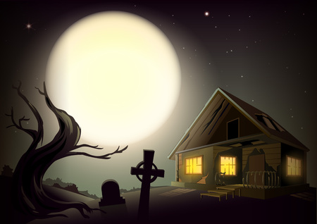 Halloween gloomy night landscape. Big full moon in sky. House with glow windows, tree and cemetery. Vector cartoon illustration