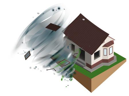 Un ouragan de vent violent a déchiré le toit de la maison. Assurance habitation. Illustration réaliste 3d de vecteur blanc isolé Banque d'images - 86156233