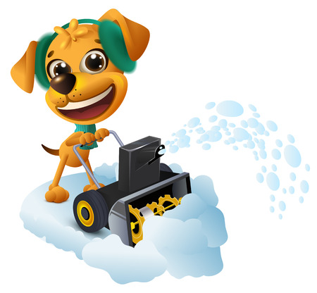 Snow removal. Yellow dog cleans snow with snow removing machine. Isolated on white fun vector cartoon illustration