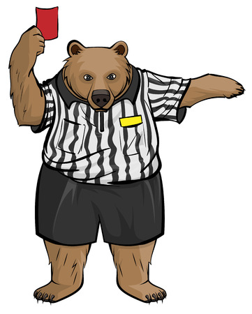 Brown russian bear soccer football referee shows red card. Isolated on white vector cartoon illustration Illustration