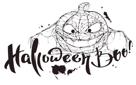 Halloween boo text. Pumpkin spider web silhouette makes boo. Isolated on white vector illustration template for greeting card Stock Illustratie