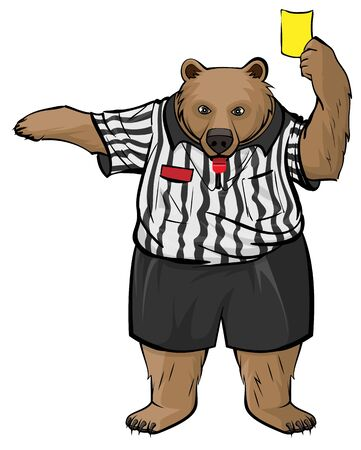 Brown russian bear soccer referee whistles and shows yellow card. Isolated on white vector cartoon illustration