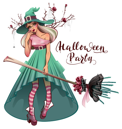 Cosplay fashionable dress for Halloween party. Beautiful young woman witch with broom. Isolated on white vector cartoon illustration greeting card