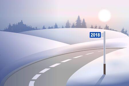 Kilometer mile pillar 2018 on winter road. Concept New Year. Vector illustration