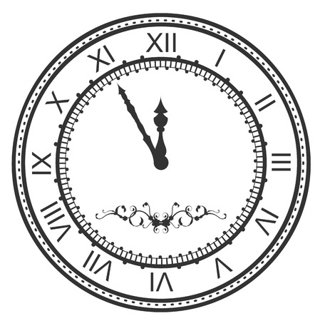 Round watch dial at five minutes to midnight. New Year Eve roman numerals. Isolated on white vector icon illustration