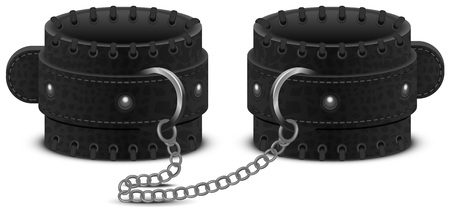 Black leather handcuffs on chain. Accessory toy for fetish bdsm game. Isolated on white vector illustration Illustration