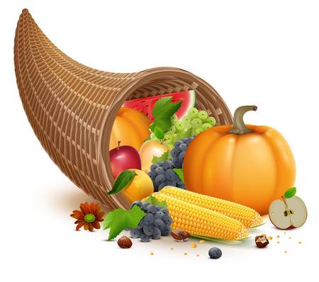 Full cornucopia for Thanksgiving feast day. Rich harvest of pumpkin, apple, corn, grapes, watermelon. Isolated on white vector illustration Illustration