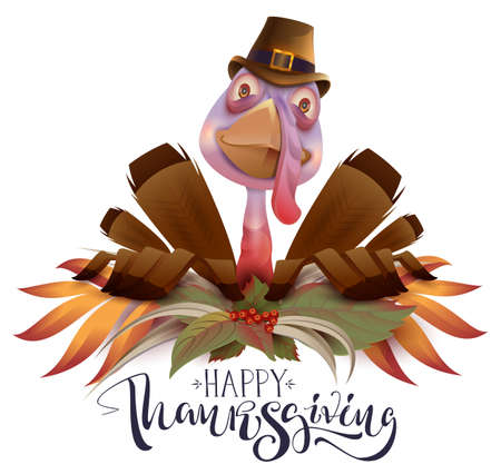 Happy Thanksgiving text greeting card. Bird turkey symbol of Thanksgiving Day. Isolated on white fun vector cartoon illustration