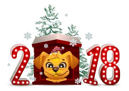 doghouse: 2018 year of yellow dog in Chinese calendar. Cartoon dog in doghouse looks forward and Christmas pine tree.