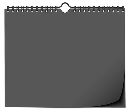 Black wall calendar mock up template with spring. Isolated on white vector illustration
