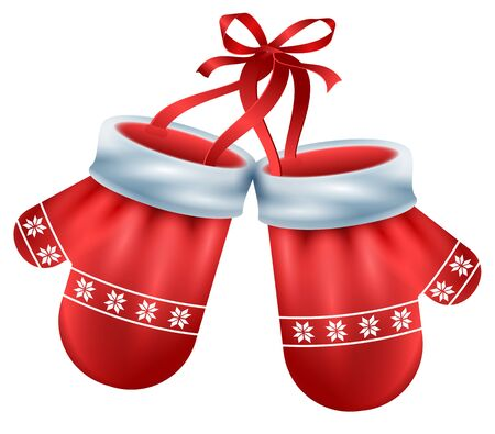 Red mittens pair Santa on white background. Christmas accessory, vector cartoon illustration.