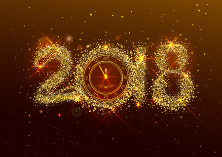 2018 new year number golden confetti on dark background. Clock face dial with Roman numerals show midnight New Year Eve. Vector illustration