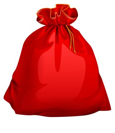 Red tied closed full santa bag with gifts. Christmas accessory. Isolated on white vector cartoon xmas illustration