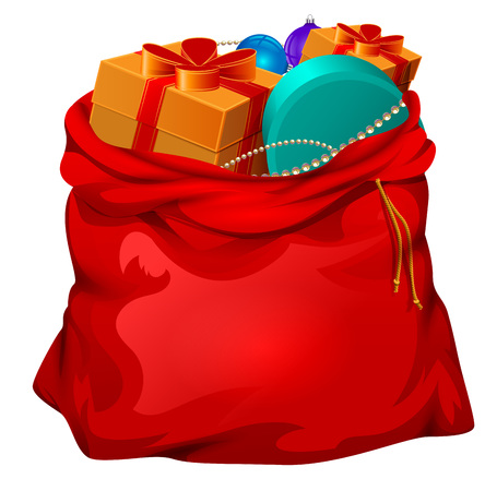 Red open santa bag with gifts. Christmas accessory. Isolated on white vector cartoon illustration