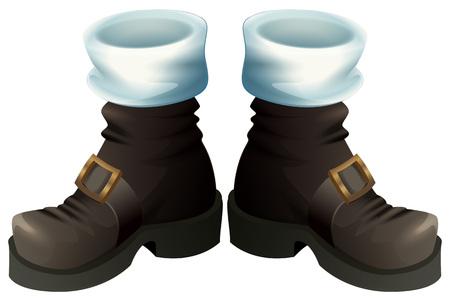 Sapatos pretos com fivelas de ouro. Papai Noel botas acessório de Natal. Isolado na ilustração em vetor branco dos desenhos animados