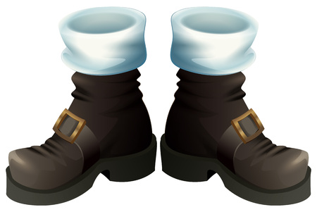 Black shoes with gold buckles. Santa Claus boots Christmas accessory. Isolated on white vector cartoon illustration