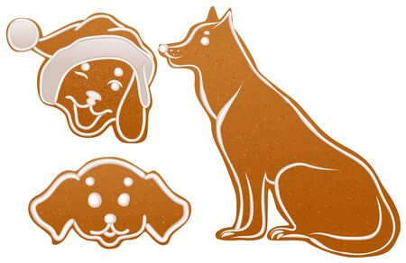 Set dog gingerbread cookie. Christmas ginger snap traditional dessert. Isolated on white vector illustration