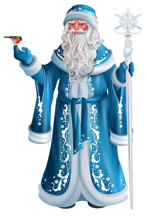 Blue Russian grandfather frost. Russian Santa Claus Saint Nicholas. Isolated on white vector cartoon illustration Иллюстрация