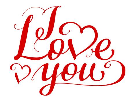 Ik hou van je handgeschreven kalligrafietekst voor Valentijnsdag. Liefdesverklaring. Geïsoleerd op witte vectorillustratie Stockfoto - 91099590