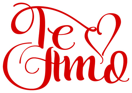 Te amo translation from spain language I love you handwritten calligraphy text for day of saint valentine. Isolated on white vector illustration Illustration