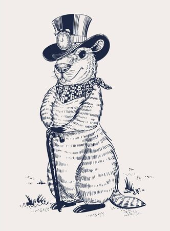 Groundhog day. Marmot in hat laid his paws on walking stick. Vector illustration Illustration