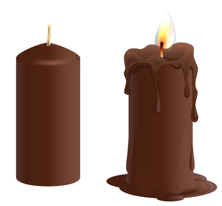 Set brown chocolate candle. Candle burns and melts. Isolated on white vector illustration