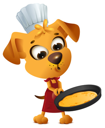 Fun yellow dog cook to make pancake in frying pan. Isolated on white vector cartoon illustration