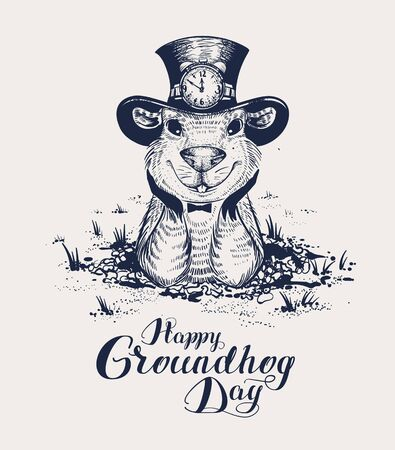 Happy Groundhog Day lettering text for greeting card. Funny marmot in hat gets out of hole and looks forward. Black and white vector retro illustration