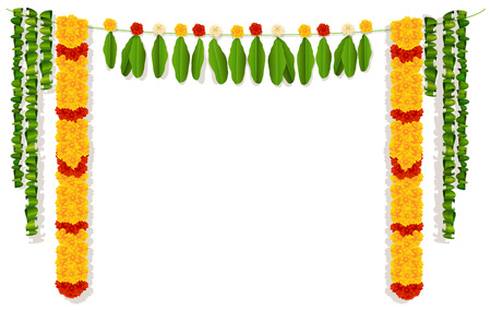 Indian garland of flowers and leaves. Religion festive holiday decoration. Vector illustration isolated on white.