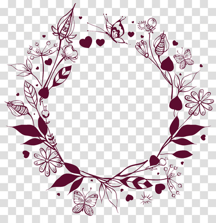 Round frame floral ornament on transparent background. Flowers and leaves, butterfly summer season. Vector drawing illustration Illustration