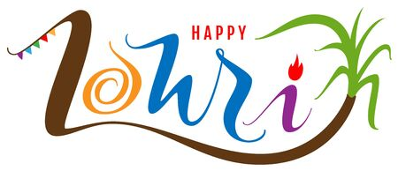 Happy lohri text for greeting card. Indian holiday. Isolated on white vector illustration Illustration