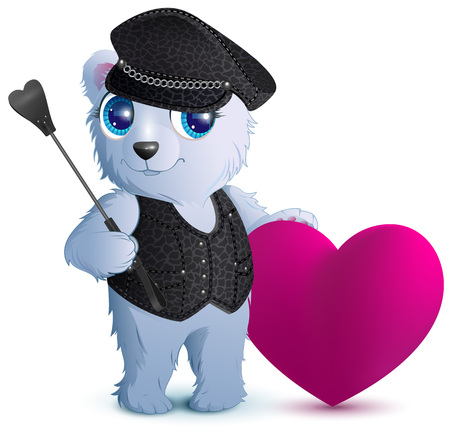 White bear in black leather clothes with Heart Illustration